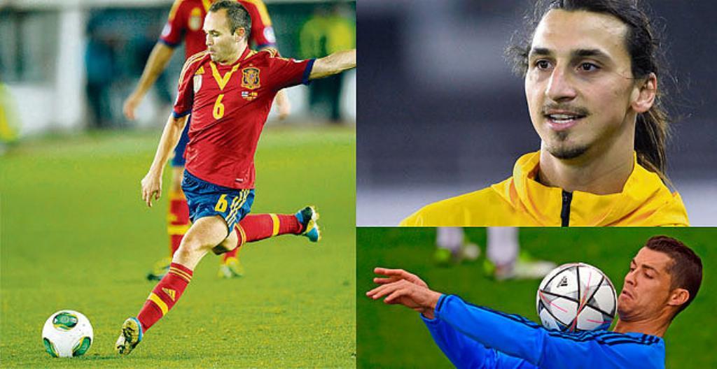 Andrés Iniesta (Espanja), Zlatan Ibrahimović (Ruotsi) ja Cristiano Ronaldo (Portugali)