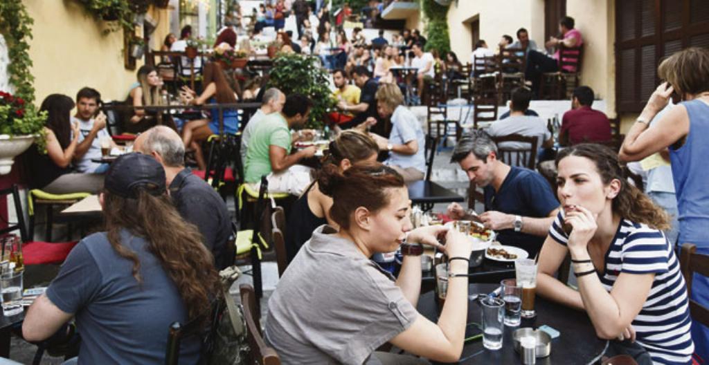 Kreikkalaisia lounasravintolassa