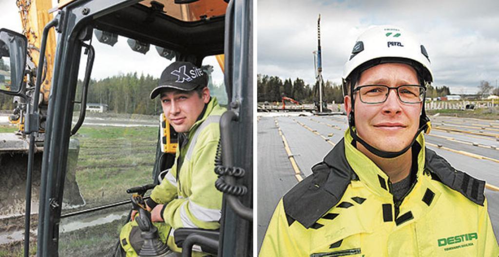 Riku Lehto (vasemmalla) ja Reijo Ilmonen rakentavat tietä Turusssa.