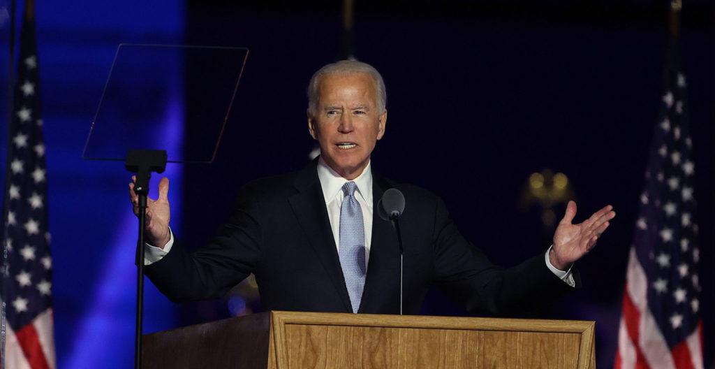 Joe Biden juhli voittoa presidentinvaalissa lauantai-iltana Wilmingtonissa Delawaren osavaltiossa. Wilmington on Bidenin kotikaupunki.